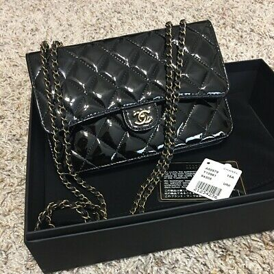 7cc92656e6c0 Auth Chanel Black Patent Goatskin Quilted CC Eyelet Wallet On Chain WOC In  Box