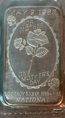 1982 Mother's Day 1 Troy Oz .999 Fine Silver Art Bar ~ Proof ~