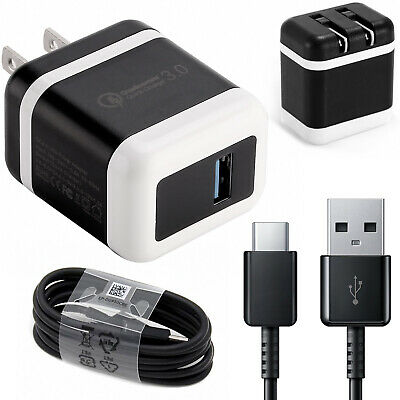 New Genuine Samsung Galaxy S9 S8 Plus Note 8 Fast OEM Wall Charger Type C CABLE