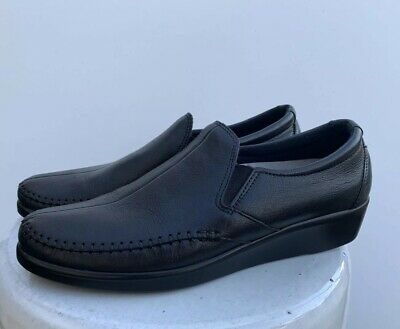 889a09d1917 SAS Comfort Soft Black Leather Slip On Loafers Shoes Women s Size 41 US 9.5