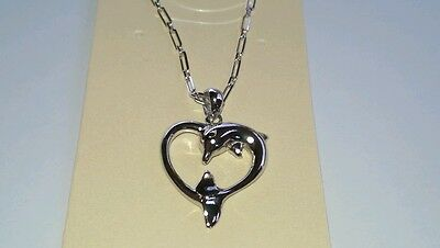 """STERLING SILVER DOLPHIN HEART PENDANT NECKLACE - Love 16""""+2"""" ext"""