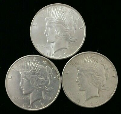 Lot of 3 1923 Peace Silver Dollars P, D & S Mint Raw Coins #PDL872
