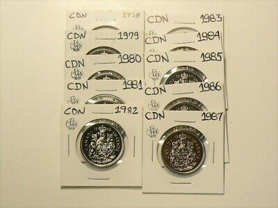 1978 to 1987 Canada 50 Cents Lot of 10 Coins Uncirculated #2758