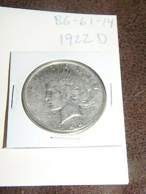 1922 D PEACE Silver Dollar YOU WILL GET WHATS IN THE PICTURES.(BG-61-14)