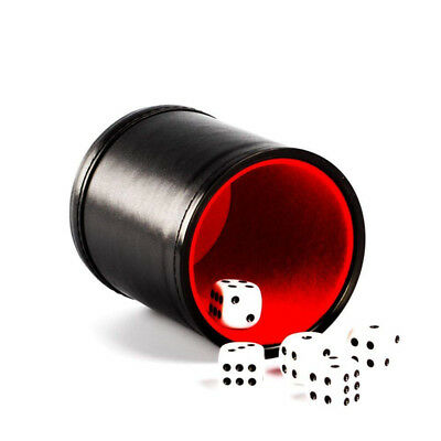 Black Faux Leather Premium Dice Cup Felt Lined Black Red with 5 Poker Dice G