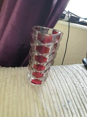 J G Durand Style French Cranberry Red And Clear Cut Glass Vase Vintage Beautiful