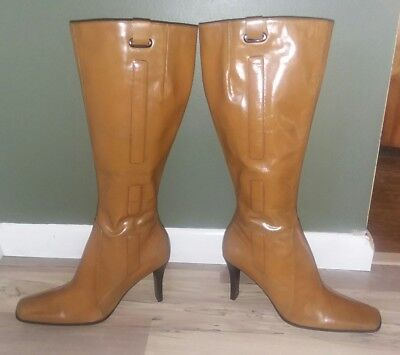 a4a6504299df Women s NINE WEST Tan Distressed Leather Knee High Zip Heel Boots - Size 8 M