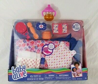 NEW Baby Alive New Mommy Kit Doll Accessories 10 Pieces - Diapers, Spoon + BONUS