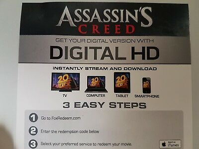 Assassin's Creed - Ultraviolet Code from a 4k UHD Bluray