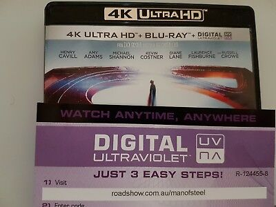 Man of Steel - Ultraviolet Code from a 4k UHD Bluray