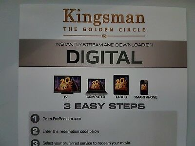 Kingsman - the golden circle - Ultraviolet Code from a 4k UHD Bluray