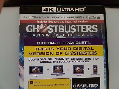 Ghostbusters Answer the Call - Ultraviolet Code from a 4k UHD Bluray
