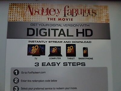 Absolutely Fabulous - the movie - Ultraviolet Code from a Bluray