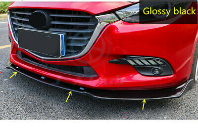 Glossy Black Front Bumper Lip Protector Cover 3pcs for Mazda 3 Axela 2014-2018