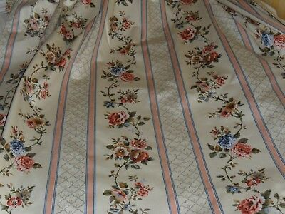 Vintage French pair lined silky curtains.Flowers'garlands stripes.