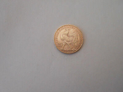 France 1909 20 Francs Gold Rooster Coin In Nice Condition