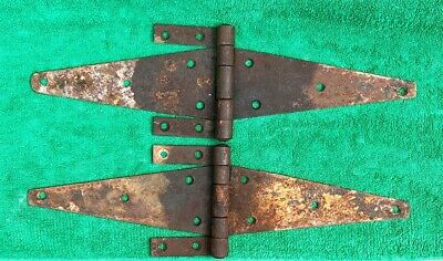 """Vintage ANTIQUE HINGES BARN DOORS 16"""" LONG EXTRA LARGE Very Rare Extra Straps"""