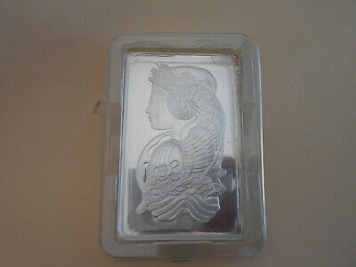 Pamp 10 Ounce Silver Bar Lady Fortuna Certificate No 001014 Slight Faults