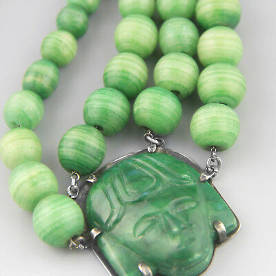 Vintage Mexican Heavy Jade Sterling Silver Necklace Art Deco 30s 40s Mayan Mask