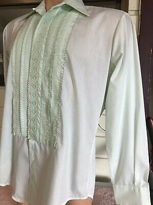 Vintage Light mint Green After Six 70s Ruffled Tuxedo Shirt. L6.