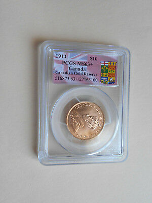 Canada 1914 Gold $10 King George V Coin In PCGS Slab Graded MS63+ Choice Unc