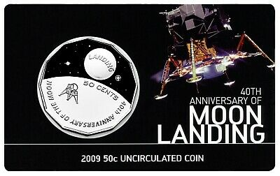 2009 Australia 50 Cents Moon Landing - 40 Years Anniversary Uncirculated Coin