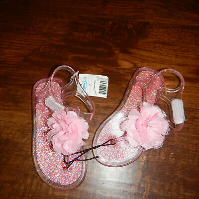 59e11bda85c0 NWT Girls Children Sandals Shoes Size 7 toddler Pink Glitter Jelly with  flowers