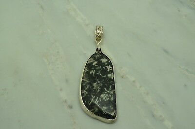 925 Sterling Silver Black & White Agate Pendant Charm -Very Large #X23013
