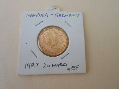 Germany (Humburg) 1913J Gold 20 Marks Coin In Scarce gEF Condition