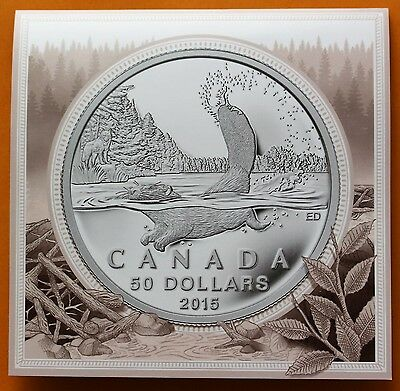 2015 Canada 99.99% Pure Fine Silver 50 Dollars Beaver $50.00 UNC Coin with Card
