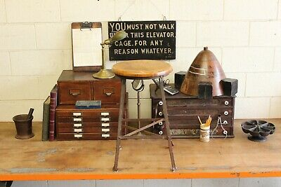Vintage Antique Industrial Angle Steel Stool Co Machine Age Chair Factory 1920s