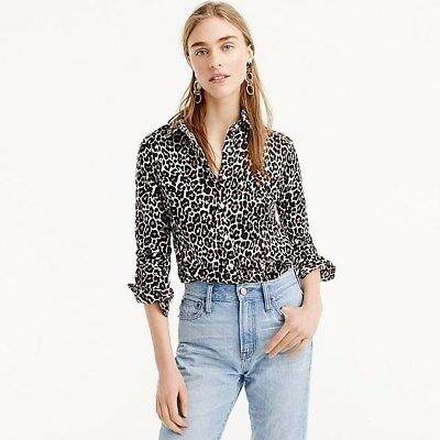 fb445f798ca3 J Crew Women's Slim Perfect Shirt In Leopard Print - Linen Blend Size 8 Nwt