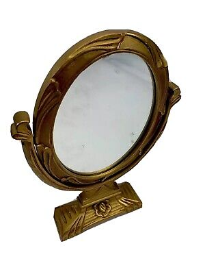 Antique Gilt Gesso Wood Shaving Vanity Mirror Dresser Stand Swivel Drawer Makeup