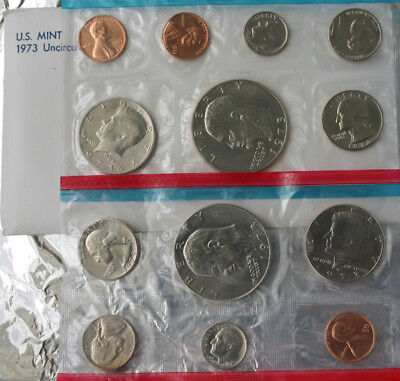 1973 Annual P and D US Mint Uncirculated 13 Coin Set BU Coins with Ike $1 Dollar