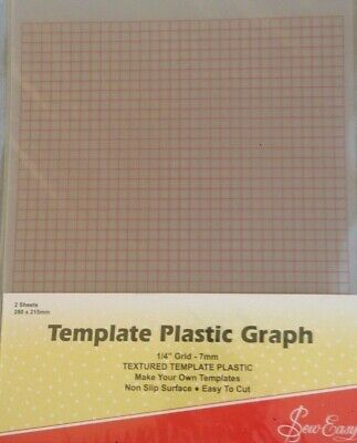 """Sew Easy Template Plastic Graph with 1/4"""" grid (7mm) 2 sheets"""