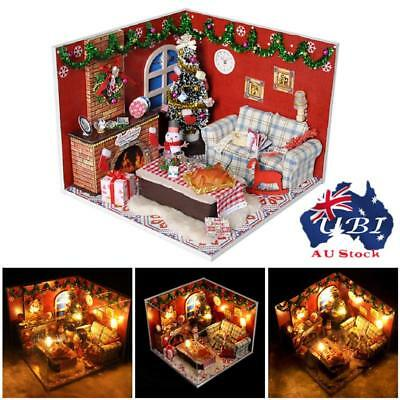DIY Wooden Doll House Miniature Kit LED Dollhouse Kids Toy Happy Times Gifts AU!