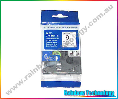 9mm x 8m Black on White Label Tape for Brother P Touch TZ TZe 221