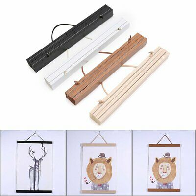 Teak Wood Magnetic Wooden Photo Frame DIY Poster Scroll Print Artwork Hanger EA