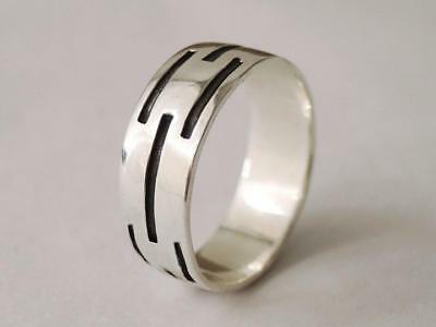 Sovats 925 Sterling Silver Mens Jewelry Antique Line Ring For Mens Size 5-12