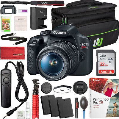 Canon T7 EOS Rebel DSLR Camera EF-S 18-55mm f/3.5-5.6 IS II Lens 2x Battery Kit