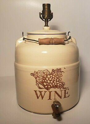 "STONEWARE WINE JUG STYLE VINTAGE LAMP Approx 21-25"" H Wooden/Metal Handle"