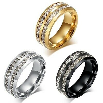 Cool Round Black Sapphire 316L Stainless Steel Ring Men's Wedding Band Size 5-12