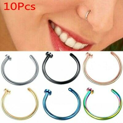 10Pc Nose Ring Open Hoop Lip Body Piercing clip on Studs Stainless Steel Jewelry