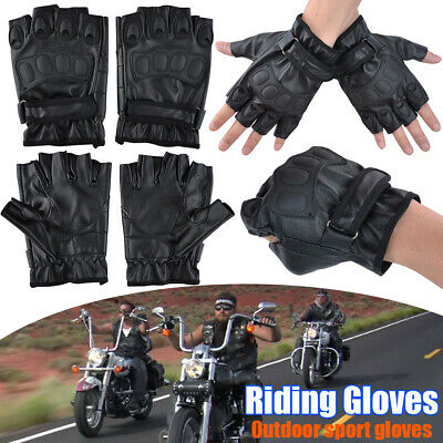 Motorcycle Cycling Outdoor Sports PU Leather Gloves Knuckle Half Finger Gloves