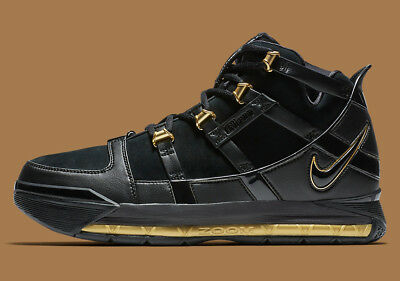 New Nike Zoom Lebron III 3 QS Basketball Shoes Sneakers-Black Gold (AO2434 26db05799