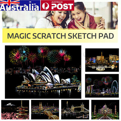 7 Pattern Magic Scratch Art Painting Paper Sketch Pad with Wooden Drawing Stick