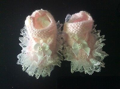 Hand Knitted Mary Jane Booties