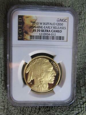 2010 W American Gold Buffalo G$50 1 oz NGC PF70 Early Releases .9999 Fine