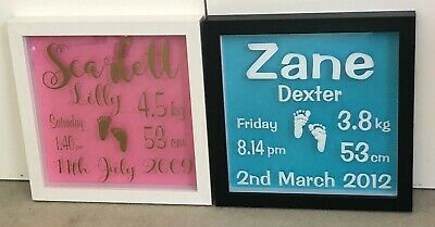 Personalised Baby Announcement Vinyl Frame