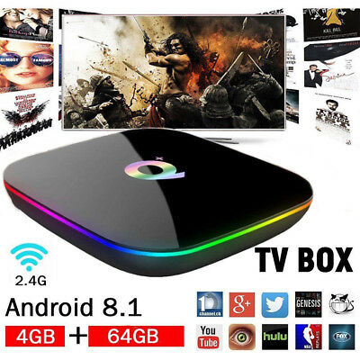 UK NEW Q Plus Android 8.1 Smart TV BOX 4GB+64GB H6 Quad Core 6K HD Media Player